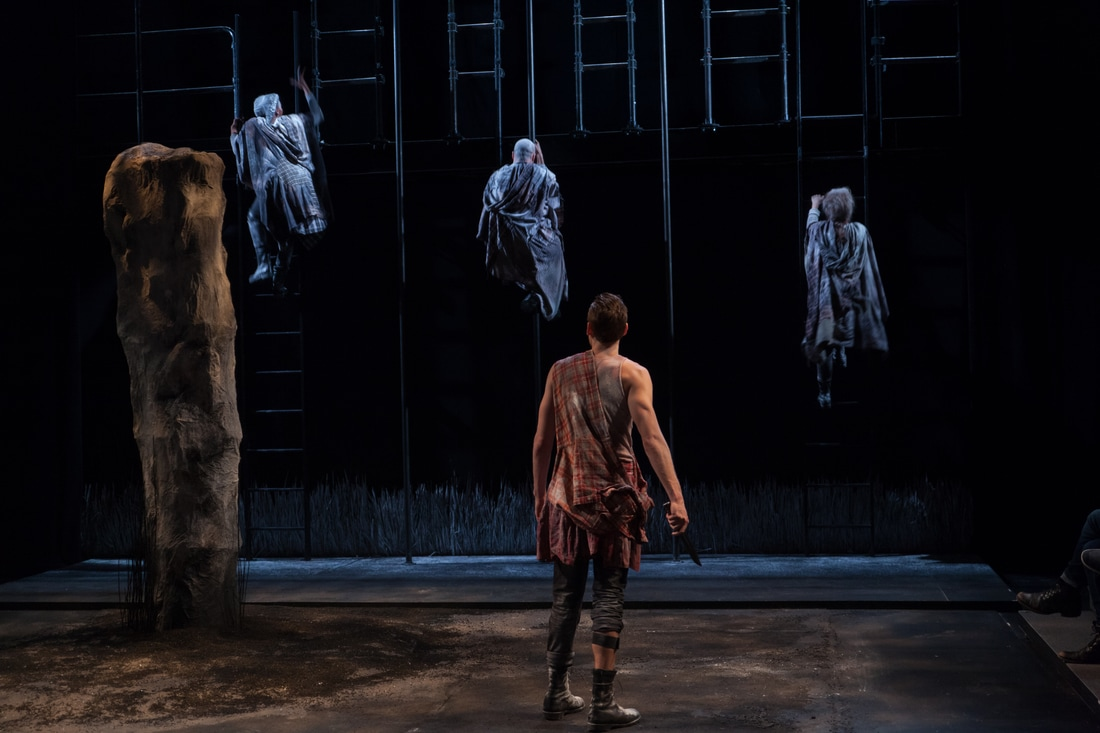 Macbeth. By: William Shakespeare. Yale School of Drama Director: Jesse Rasmussen.    Scenic Design: Christopher Thompson.   Costume Design: Sydney Gallas.    Sound Design: Christopher Ross-Ewart. Production Photography: Christopher Thompson.