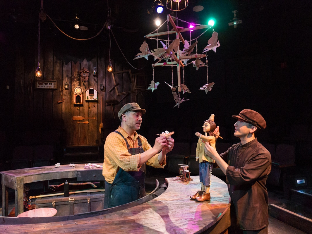 Pinicchio. By: Andrew Windler. ZACH Theatre Director: Nat Miller.    Scenic Design: Christina Yoo.    Costume & Puppetry Design: Lucie Cunningham. Production Photos: Kirk Tuck.
